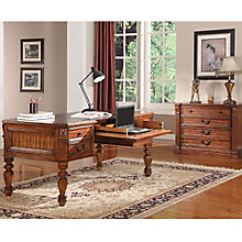"Granada Antique Finish Writing Desk with Leather Top - 66""W, 8814517"