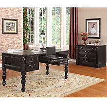 "Palazzo Writing Desk with Leather Top - 66""W, 8814538"