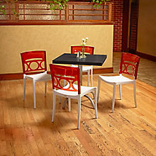 "Square Table with Metal Base and Four Chairs - 30""W , 8822894"