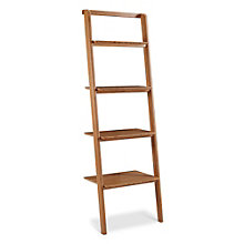 "Currant Four Shelf Solid Bamboo Leaning Bookcase - 70""H, 8806949"