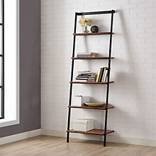"Studio Line Five Shelf Solid Bamboo Leaning Bookcase - 76.5""H, 8806987"