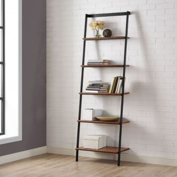 5 Shelf Carmel Bamboo Leaning Bookcase