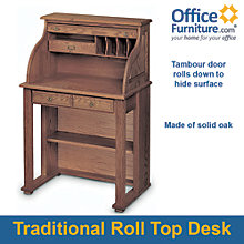 "Compact Solid Wood Roll Top Writing Desk - 29""W, HAU-268BBR"