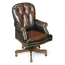 Seven Seas Button Tufted Executive Chair in Leather, HOO-10864