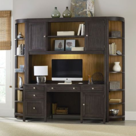 Credenza, hutch, and corner bookcases