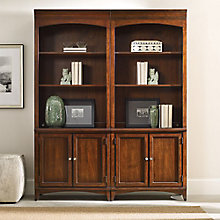 "Latitude 80.5""H 6 Shelf Contemporary Double Bookcase Set, 8814430"