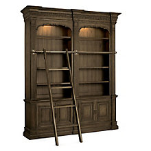 "Rhapsody 104.25""H Rustic Double Bookcase with Ladder and Rail, 8814485"