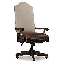 Rhapsody Rustic Scroll Arm Fabric Back Chair with Leather Seat , 8814461