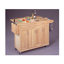 Natural Wood Kitchen Cart with Breakfast Bar, HOT-5023-95