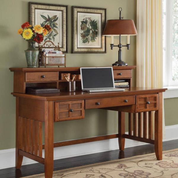 "mission style 54"" exec writing desk with hutch 