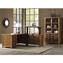 Heritage Adjustable Height L-Desk and Bookcase Set, 8822575