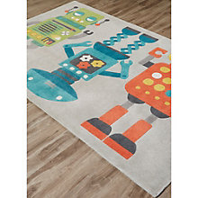 Iconic By Petit Collage Robots Area Rug 5'W x 7.5'D, 8805255