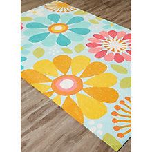 Iconic By Petit Collage Spring Flowers Area Rug 5'W x 7.5'D, 8805259