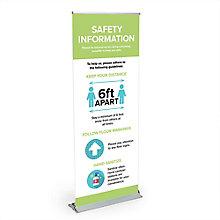 Premium Safety Information Banner Stand 6.5'H, 8828865