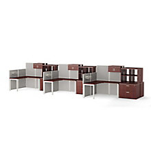 Six Paneled Corner Desk Workstations with Cubby Storage, 8814532