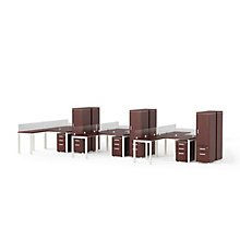 Six L-Desk Workstations with Pedestals & Wardrobes, 8814522