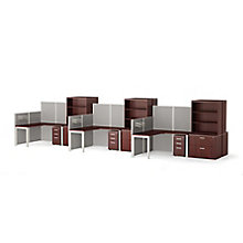 Reveal Six Corner Desk Workstations with Panels and Storage, 8822130