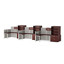 Six Corner Desk Workstations with Panels and Storage, 8814529
