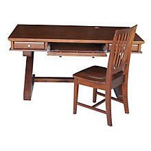 Z-Leg Writing Desk with Three Drawers and Chair Set, 8813001