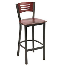 Metal Barstool with Wood Seat and Back, 8802849