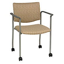 Mobile Guest Chair with Arms in Fabric, Polyurethane or Faux Leather, 8814203
