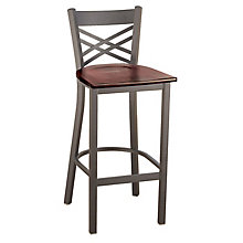 Cafe Stool with X-Back and Wood Seat, KFI-BR3310W