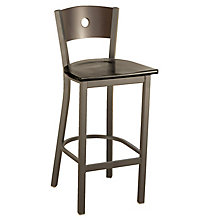 Cafe Stool with Solid Wood Seat and Back, KFI-BR3315DW