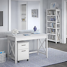 Bush Furniture Key West Desk with Mobile Pedestal and Bookcase Set, 8828887