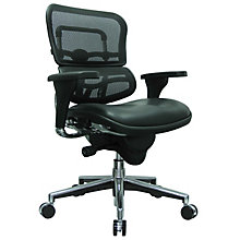 Ergohuman Mesh Back Leather Seat Mid Back Chair, 8808237