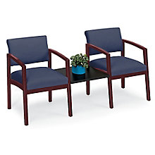 Lenox Two Chairs with Center Connecting Table in Fabric, 8825891