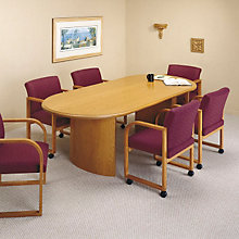 "Solid Oak Oval Conference Table with Curved Base - 96"" x 42"", LES-V1696P8"