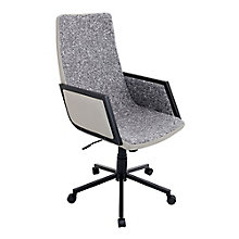 Governor High Back Chair in Fabric with Faux Leather Trim, 8804918