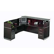 Napoli Reception L-Desk with Glass Countertop, MAL-NRSLBF
