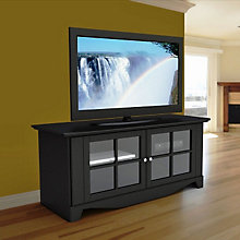 Pinnacle Black Finish Large Glass Doored TV Stand, MEG-100606