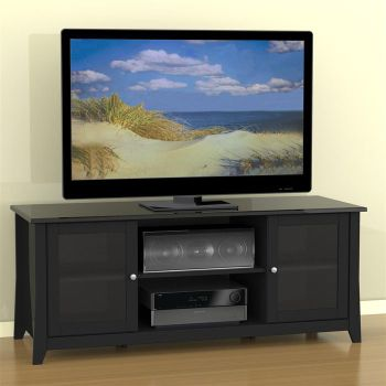 Tuxedo Black Tv Stand With Glass Doors Officefurniture Com