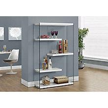 "Four Shelf Glass Bookcase - 60""H, 8802271"