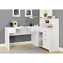 """L-Desk with Storage Return and Hutch - 63""""Wx59""""D, 8801740"""