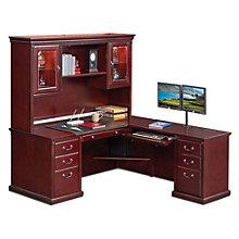 """Kathy Ireland Huntington Club L-Desk with Right Return and Hutch - 69""""W, 8805067"""