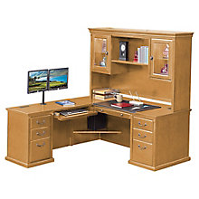 "Wheat Oak L-Desk with Left Return and Hutch - 69""W, 8805062"