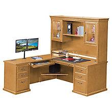 "Wheat Oak L-Desk with Left Return and Hutch - 69""W, 8805062"