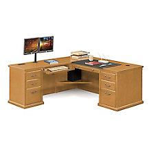 """Wheat Oak L-Desk with Left Return - 68""""W, 8805058"""