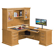 "Wheat Oak L-Desk with Hutch - 69""W - Left or Right Return, 8827206"
