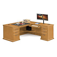 "Huntington Oxford Wheat Oak L-Desk - 68""W - Left or Right Return, 8827093"