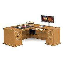 "Huntington Oxford Wheat Oak L-Desk - 68""W - Left or Right Return, 8827093"
