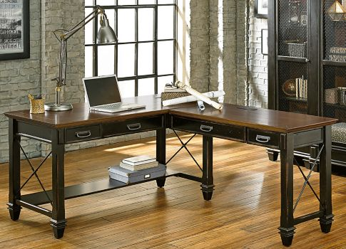 Hartford Two Tone L Desk 60w 8803199 Officefurniture Com