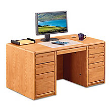 "Contemporary Oak Compact Double Pedestal Desk - 60""W, 8805023"