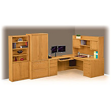 Contemporary Oak L-Desk with Left Return Office Set, 8805034