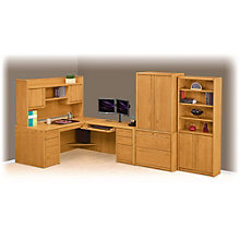 Contemporary Oak L-Desk with Right Return Office Suite, 8805037