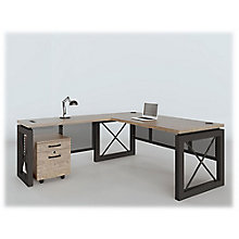 "Compact Reversible L-Desk with Pedestal - 60""W x 80""D, 8826882"