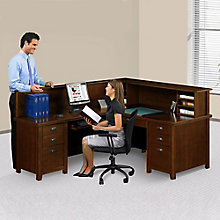 Tribeca Loft Cherry Receptionist L-Desk with Right or Left Return, 8826855